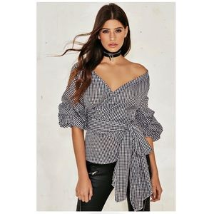 NWT - Nasty Gal Milllie Wrap Top - Gingham